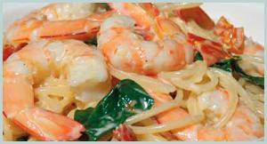 Prawn Pasta Cream Basil Seafood Dish Canberra